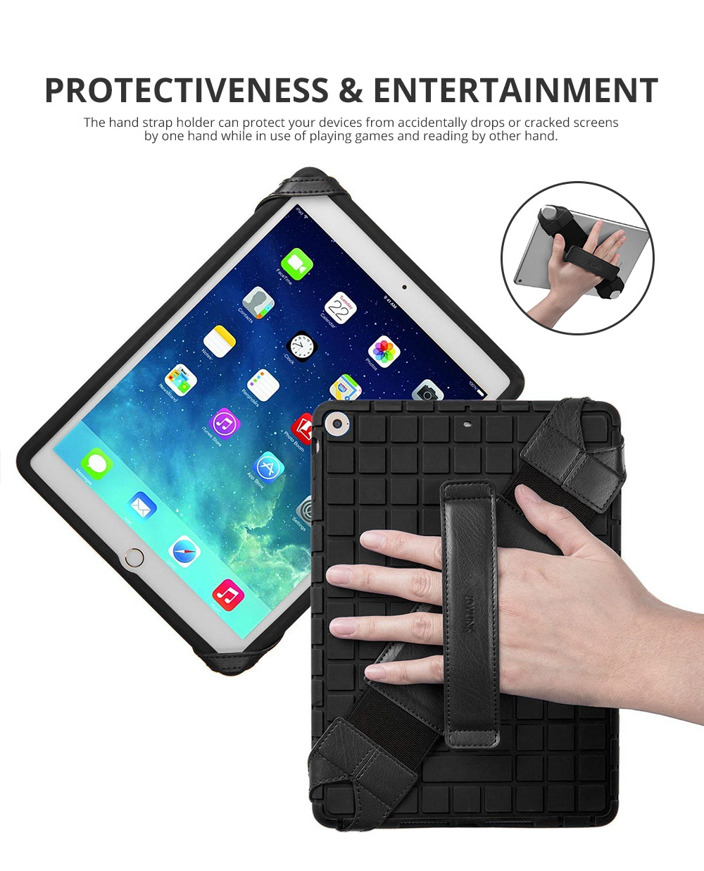 Universal PU Leather Hand Strap Holder for Phones Tablets, 360 Degrees Swivel Leather Handle Grip with Elastic Belt for 9.7 inches Pad and 10.1 inches iPad or Android devices 9