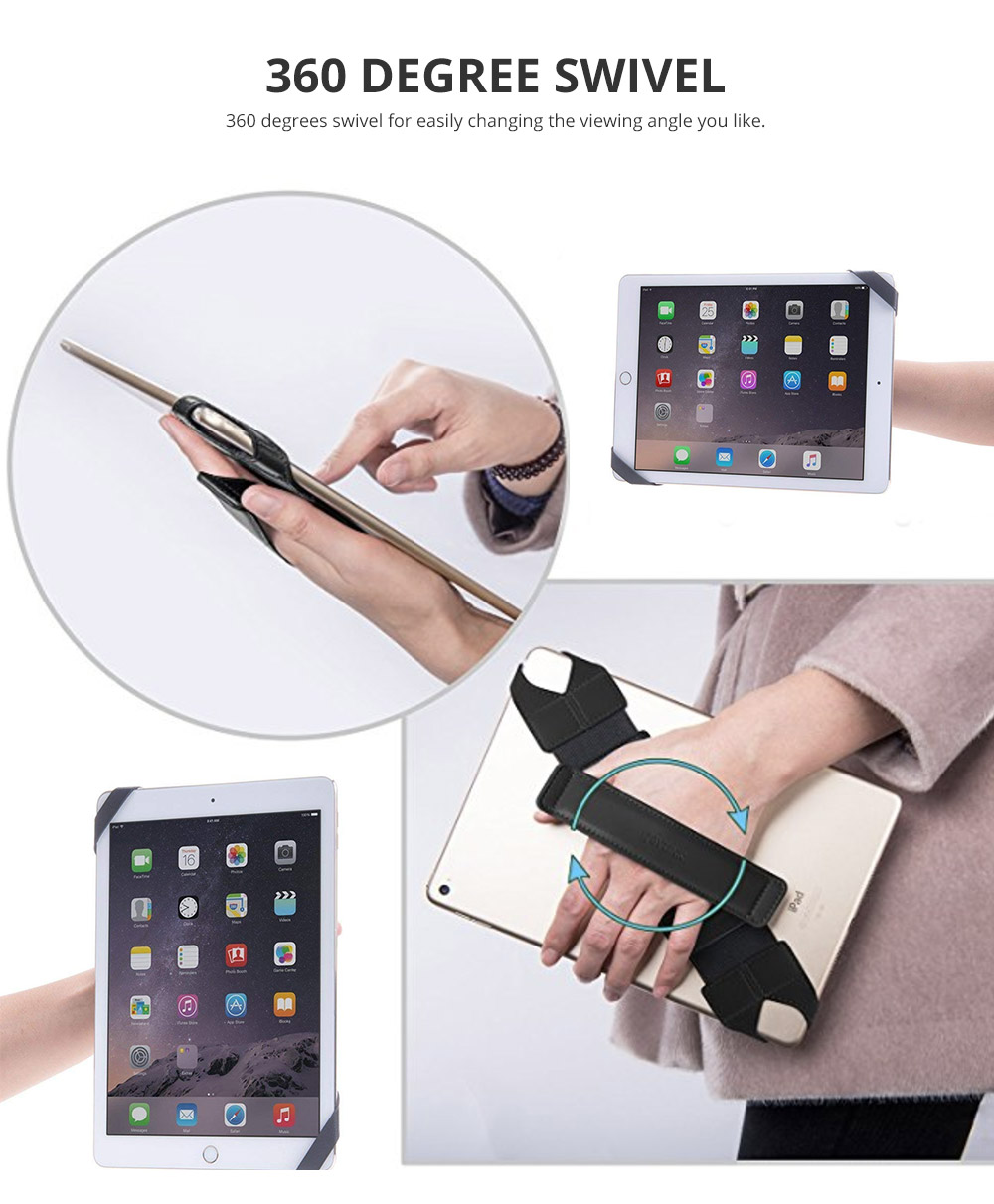 Universal PU Leather Hand Strap Holder for Phones Tablets, 360 Degrees Swivel Leather Handle Grip with Elastic Belt for 9.7 inches Pad and 10.1 inches iPad or Android devices 10