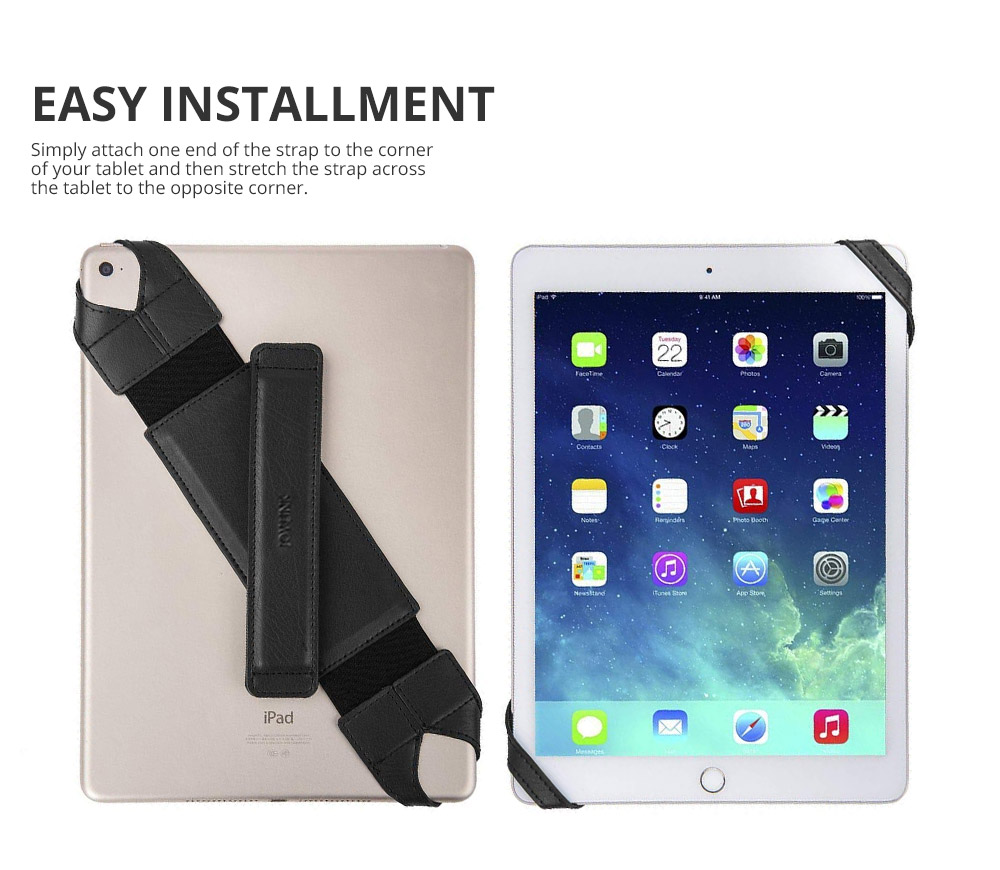 Universal PU Leather Hand Strap Holder for Phones Tablets, 360 Degrees Swivel Leather Handle Grip with Elastic Belt for 9.7 inches Pad and 10.1 inches iPad or Android devices 11