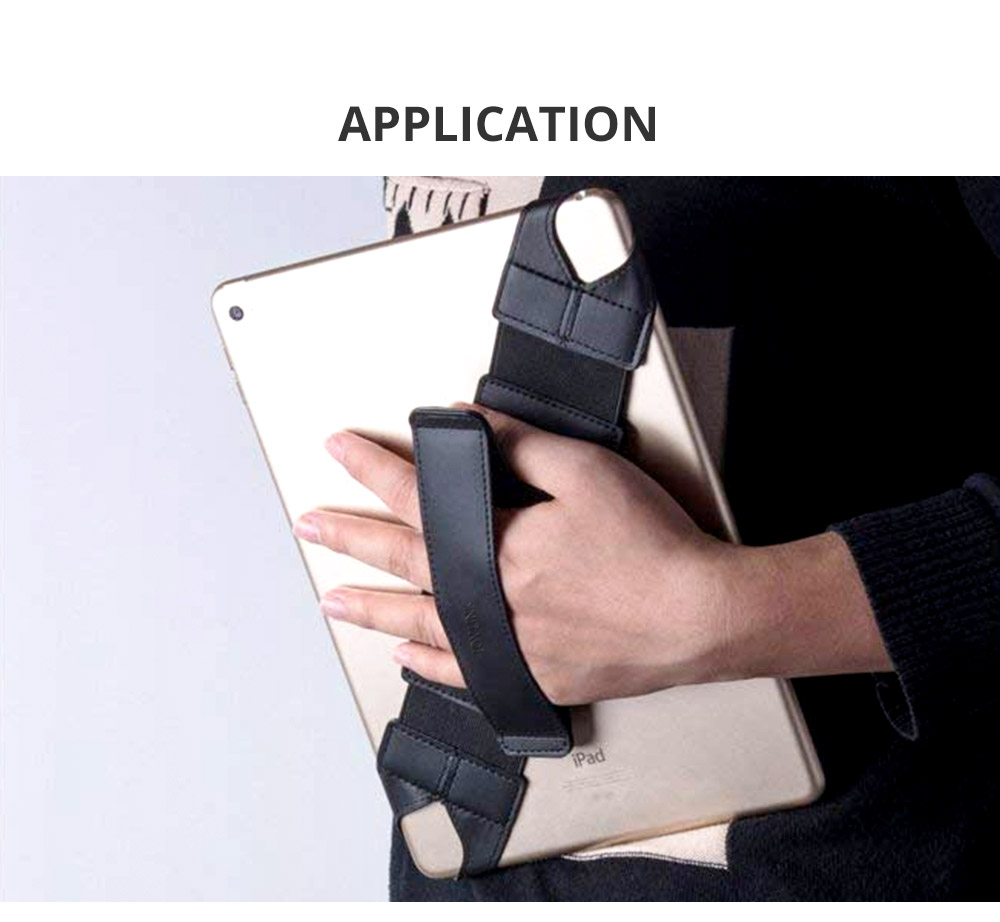 Universal PU Leather Hand Strap Holder for Phones Tablets, 360 Degrees Swivel Leather Handle Grip with Elastic Belt for 9.7 inches Pad and 10.1 inches iPad or Android devices 13