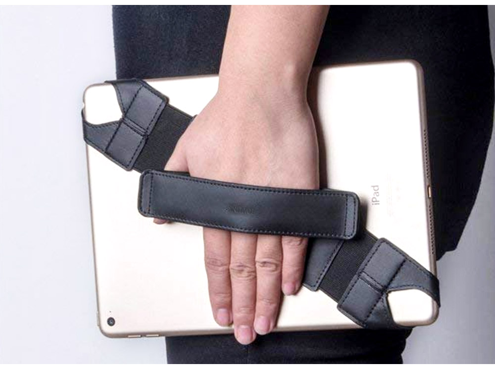 Universal PU Leather Hand Strap Holder for Phones Tablets, 360 Degrees Swivel Leather Handle Grip with Elastic Belt for 9.7 inches Pad and 10.1 inches iPad or Android devices 14