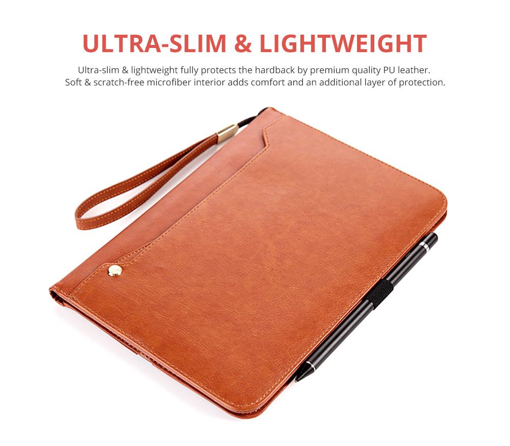 2018 Brand New Leather Smart Stand Folio Business Wallet Case Cover with Card Slots, Kickstand, Document Pocket, Pencil Holder, Elastic Hand Strap for iPad 1/2/3/4 iPad Mini iPad Air 1/2 7