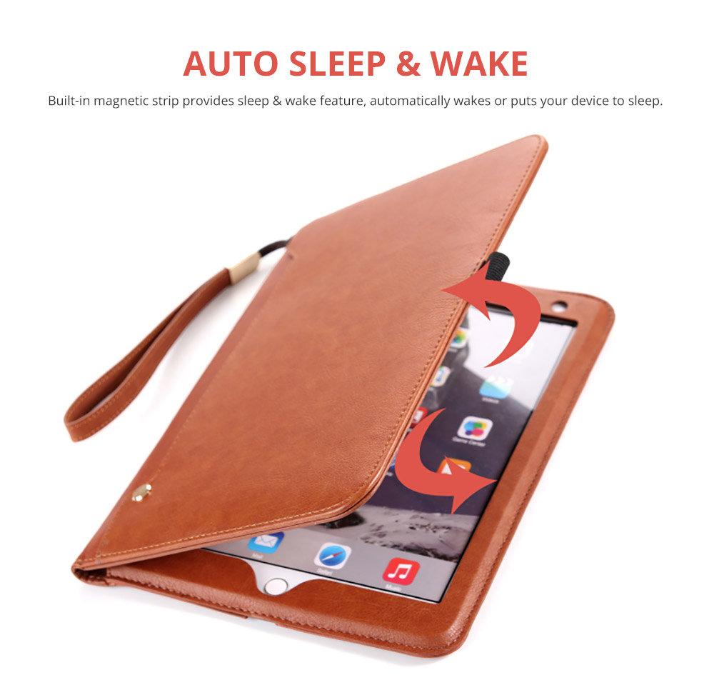 2018 Brand New Leather Smart Stand Folio Business Wallet Case Cover with Card Slots, Kickstand, Document Pocket, Pencil Holder, Elastic Hand Strap for iPad 1/2/3/4 iPad Mini iPad Air 1/2 8