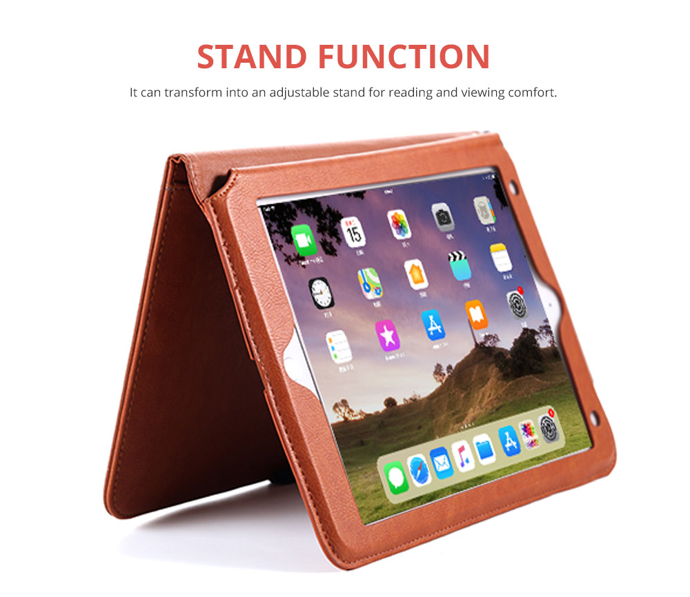 2018 Brand New Leather Smart Stand Folio Business Wallet Case Cover with Card Slots, Kickstand, Document Pocket, Pencil Holder, Elastic Hand Strap for iPad 1/2/3/4 iPad Mini iPad Air 1/2 9