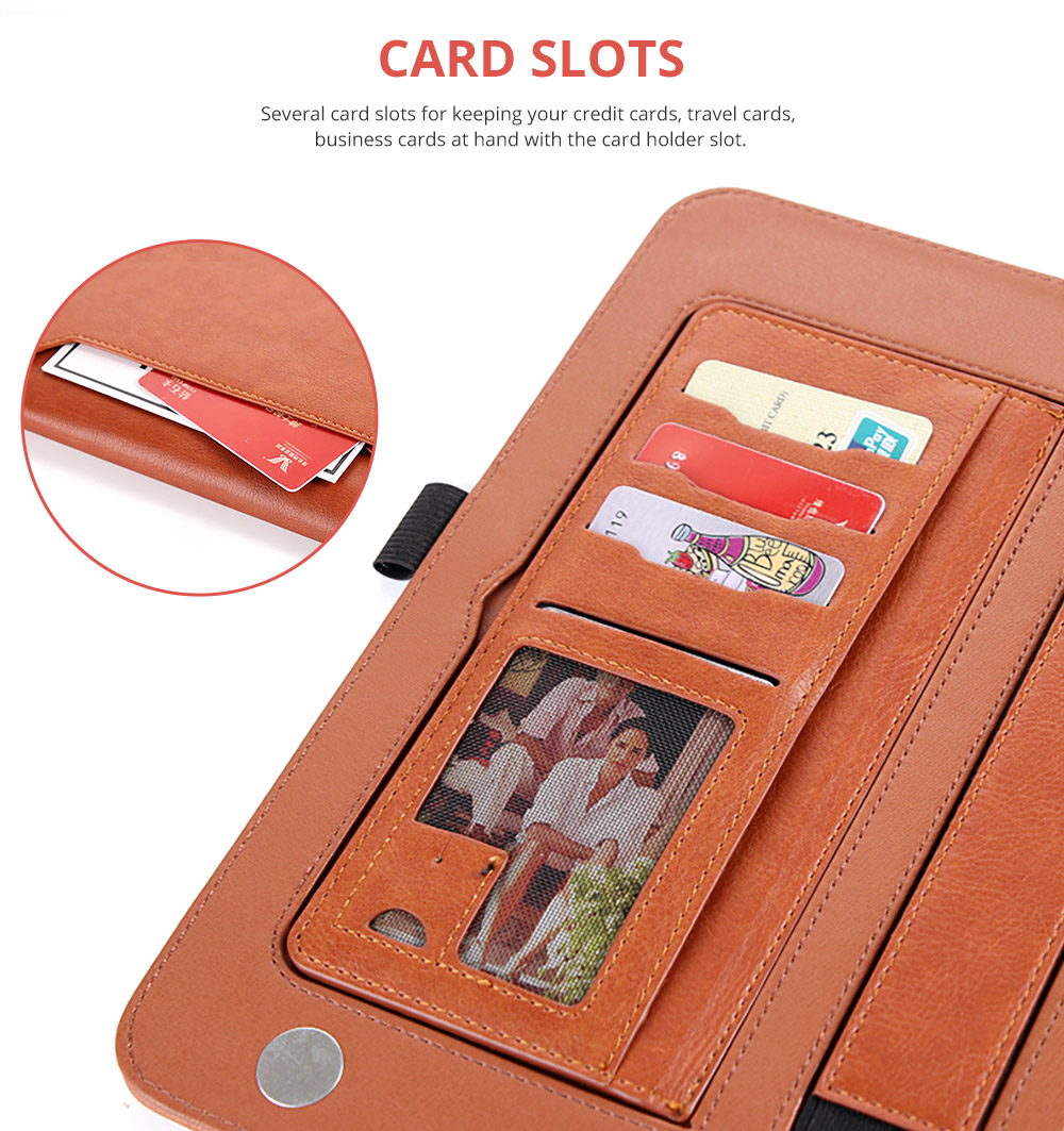 2018 Brand New Leather Smart Stand Folio Business Wallet Case Cover with Card Slots, Kickstand, Document Pocket, Pencil Holder, Elastic Hand Strap for iPad 1/2/3/4 iPad Mini iPad Air 1/2 14