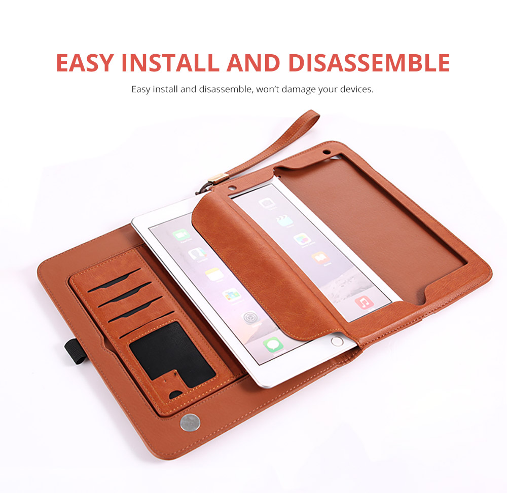 2018 Brand New Leather Smart Stand Folio Business Wallet Case Cover with Card Slots, Kickstand, Document Pocket, Pencil Holder, Elastic Hand Strap for iPad 1/2/3/4 iPad Mini iPad Air 1/2 15
