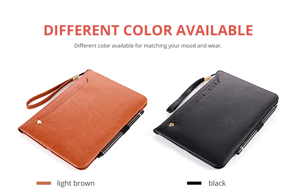 2018 Brand New Leather Smart Stand Folio Business Wallet Case Cover with Card Slots, Kickstand, Document Pocket, Pencil Holder, Elastic Hand Strap for iPad 1/2/3/4 iPad Mini iPad Air 1/2 16