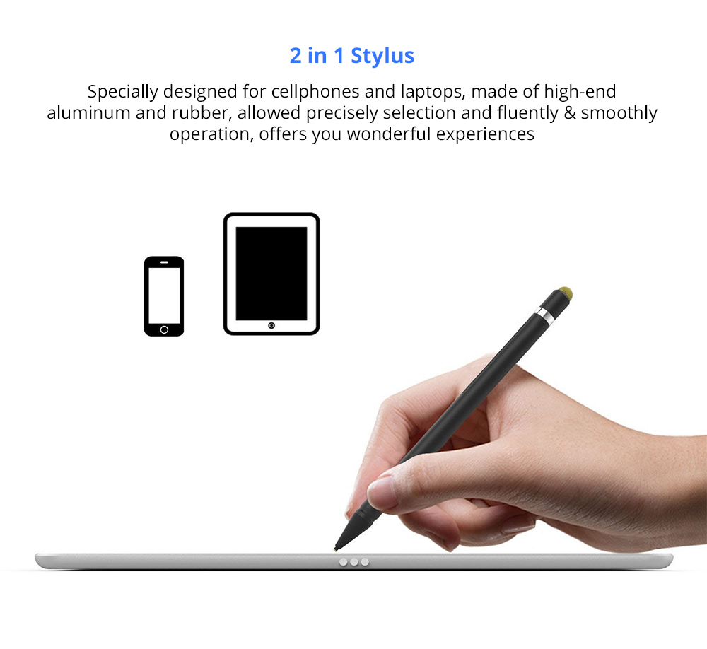 Laptop Cellphone Universal 2 in 1 Stylus Compatible for Kindle Touch ipad iphone 8/6s 8Plus Samsung S5 S6 S7 Edge S8 Plus iPad Pro IOS Android Note Screen Touch Sensitive 6