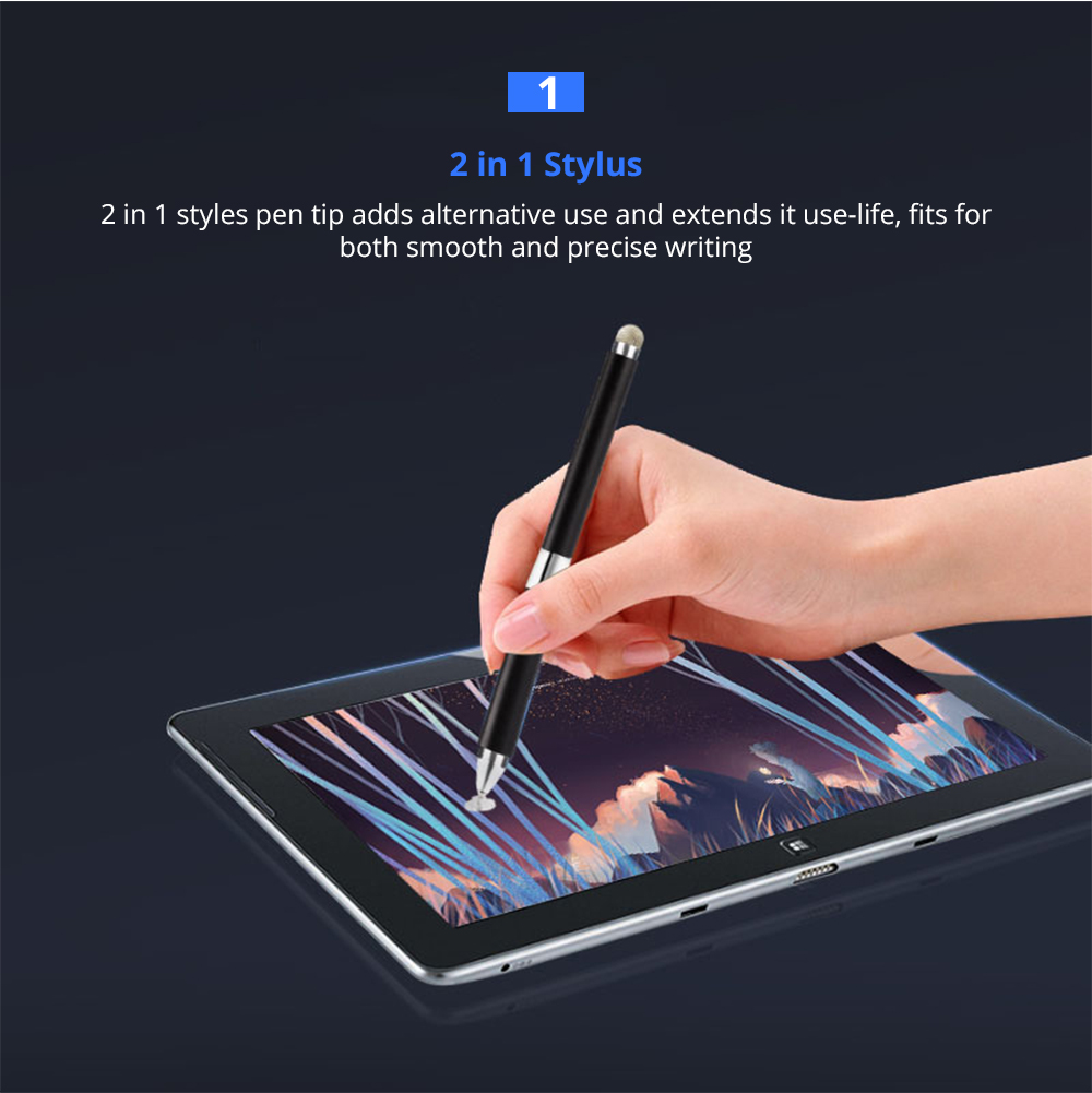 Laptop Cellphone Universal 2 in 1 Stylus Compatible for Kindle Touch ipad iphone 8/6s 8Plus Samsung S5 S6 S7 Edge S8 Plus iPad Pro IOS Android Note Screen Touch Sensitive 7