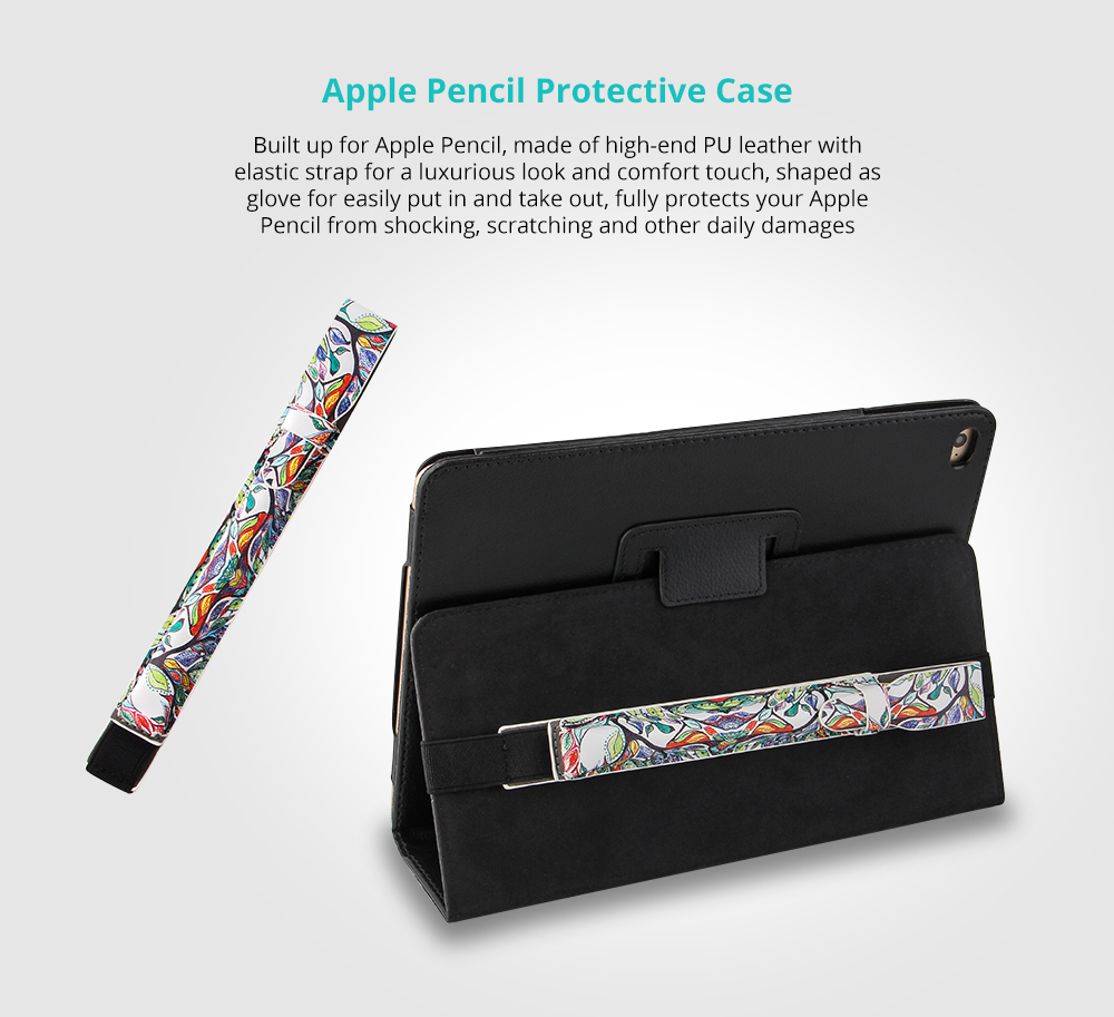 Portable Protective Premium PU Leather Apple Pencil Case Cover with Elastic Strap Compatible with iPad Pro 9.7 inch & iPad Pro 10.5 inch 5