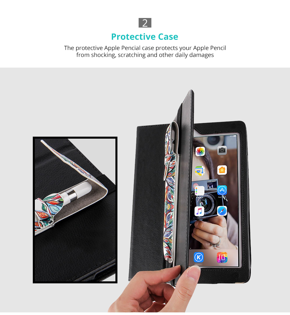 Portable Protective Premium PU Leather Apple Pencil Case Cover with Elastic Strap Compatible with iPad Pro 9.7 inch & iPad Pro 10.5 inch 7