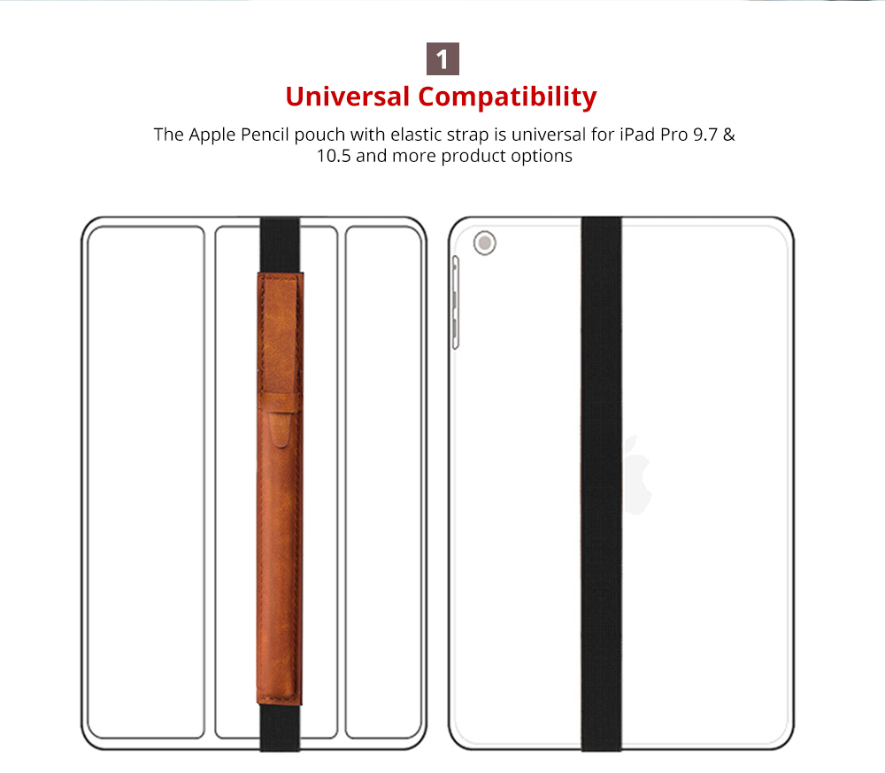 High-end PU Leather Apple Pencil Cover with Elastic Strap Compatible with iPad Pro 9.7 inch & iPad Pro 10.5 inch Portable Protective Pouch Case for Stylus 6