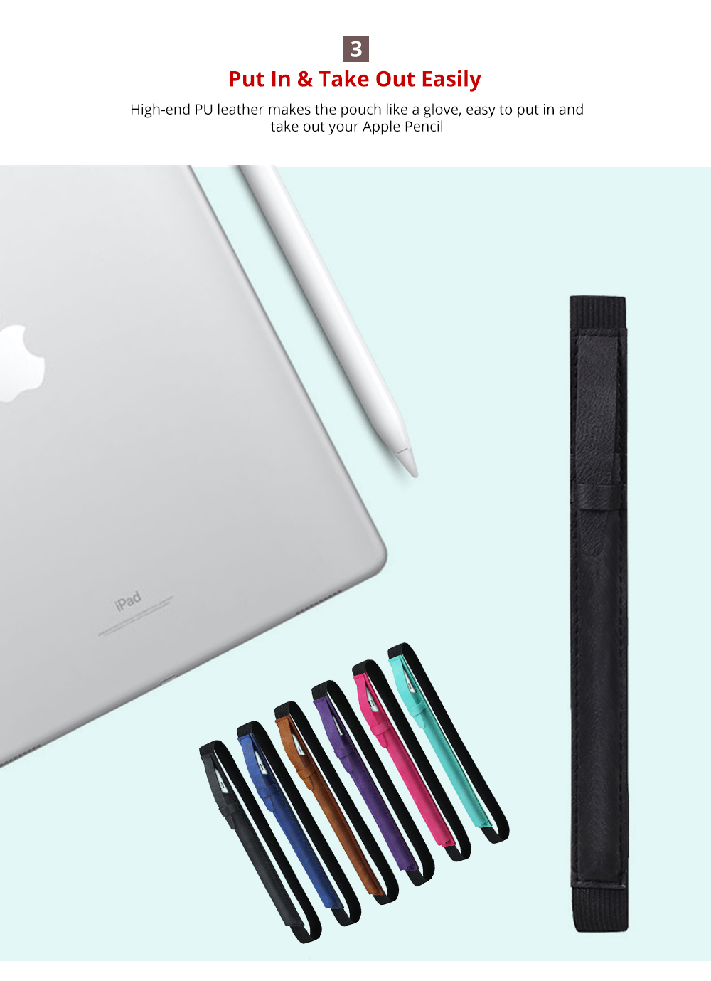 High-end PU Leather Apple Pencil Cover with Elastic Strap Compatible with iPad Pro 9.7 inch & iPad Pro 10.5 inch Portable Protective Pouch Case for Stylus 8