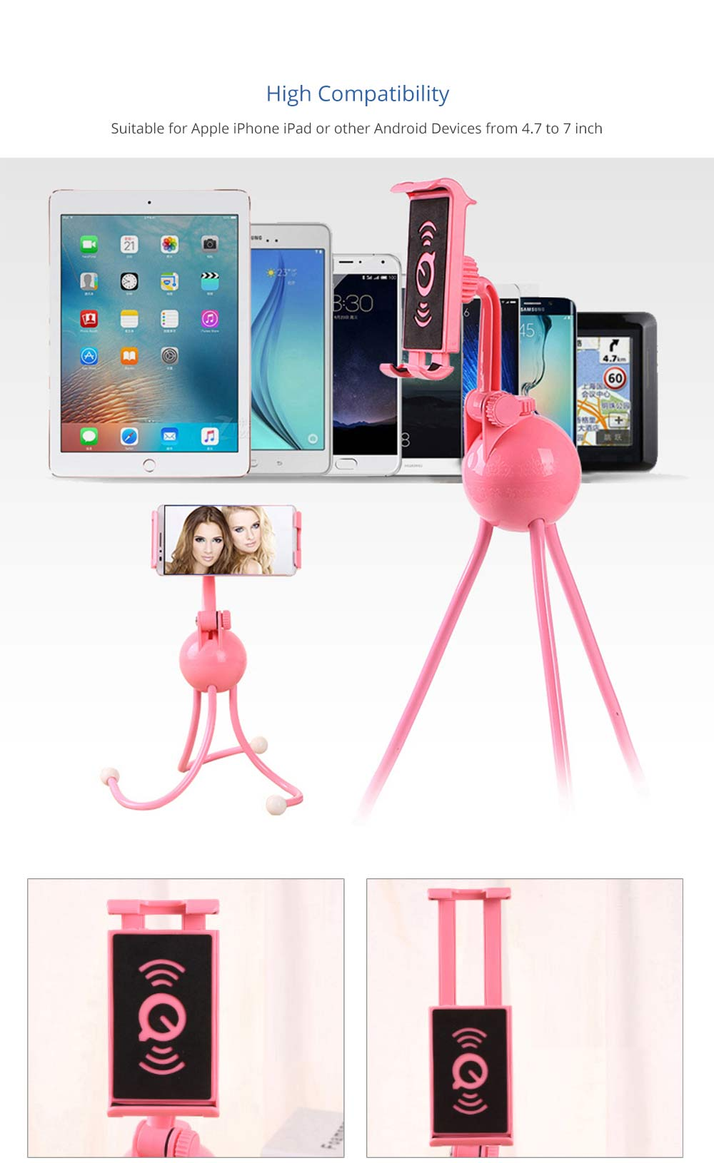 Extendable Hand-free Phone Octopus Stand Compatible with iPhone 6/6s, iPhone 7/7plus, iPhone 8/8plus, iPhone X/XS/Max, Samsung 4.7-7 inch, Adjustable Universal Holder 7