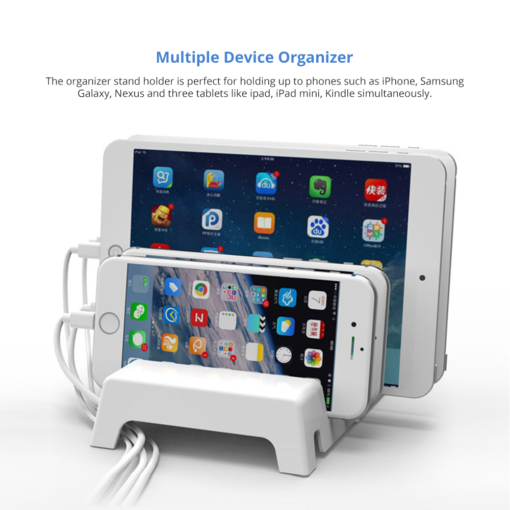 Adjustable Universal Multi-Device Charging Organizer Dock Stand 5-Slot Compatible with iPhone, iPad, Kindle, Fire Tablet, Samsung Galaxy, Google Nexus, Pixel 6