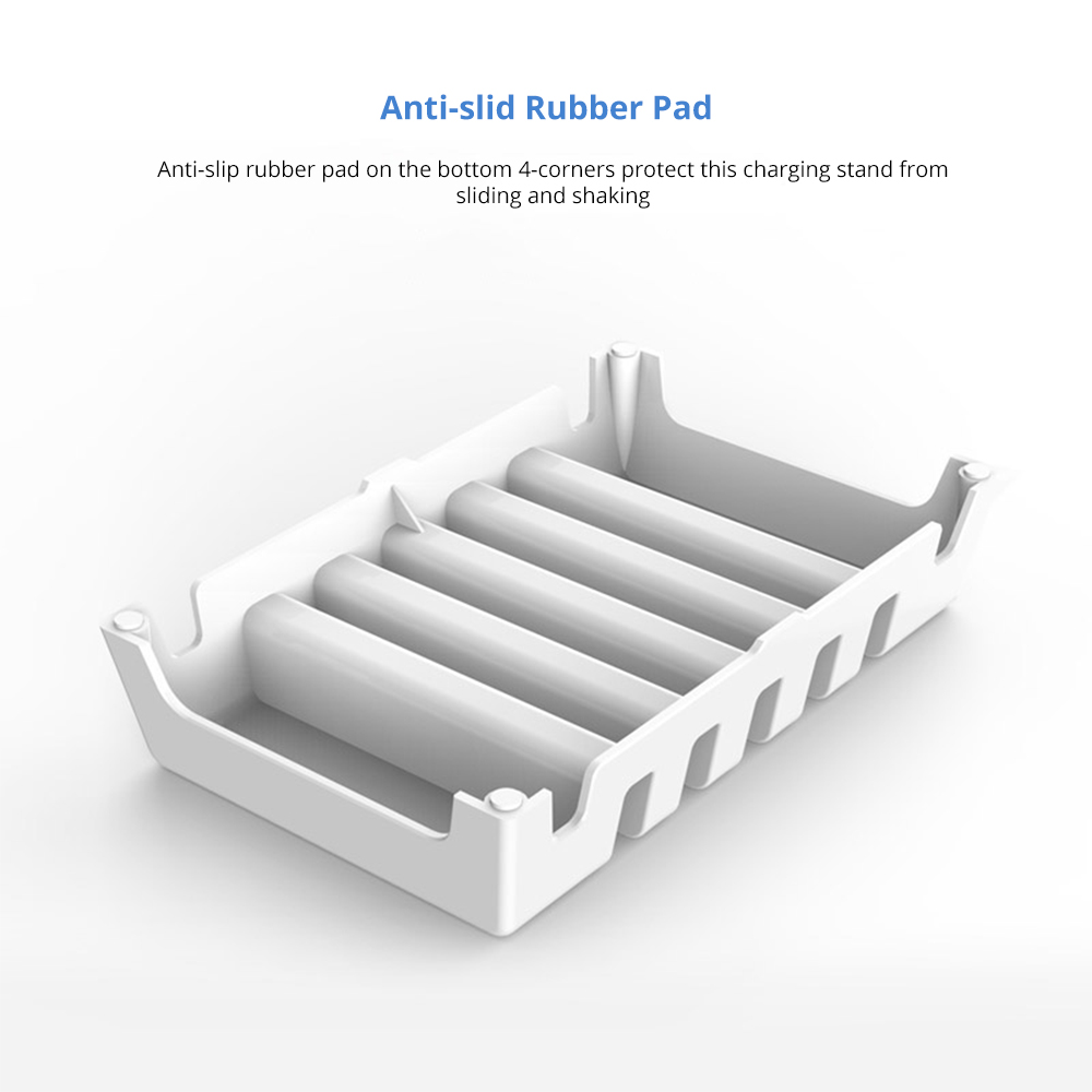 Adjustable Universal Multi-Device Charging Organizer Dock Stand 5-Slot Compatible with iPhone, iPad, Kindle, Fire Tablet, Samsung Galaxy, Google Nexus, Pixel 9