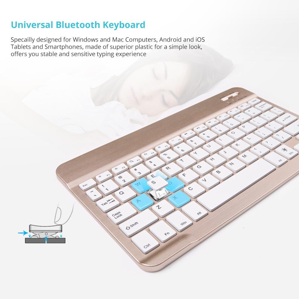 Universal Ultra-thin Bluetooth Keyboard Portable Wireless Bluetooth Keyboard forApple iPad Air 3/2/1, iPad Pro, iPad Mini 4/3/2/1, iPad 4/ 3/ 2, iPhone, Windows and Mac Computers, Android and iOS Tablets and Smartphones Available 5