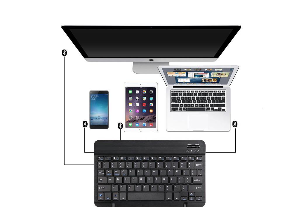Universal Ultra-thin Bluetooth Keyboard Portable Wireless Bluetooth Keyboard forApple iPad Air 3/2/1, iPad Pro, iPad Mini 4/3/2/1, iPad 4/ 3/ 2, iPhone, Windows and Mac Computers, Android and iOS Tablets and Smartphones Available 8