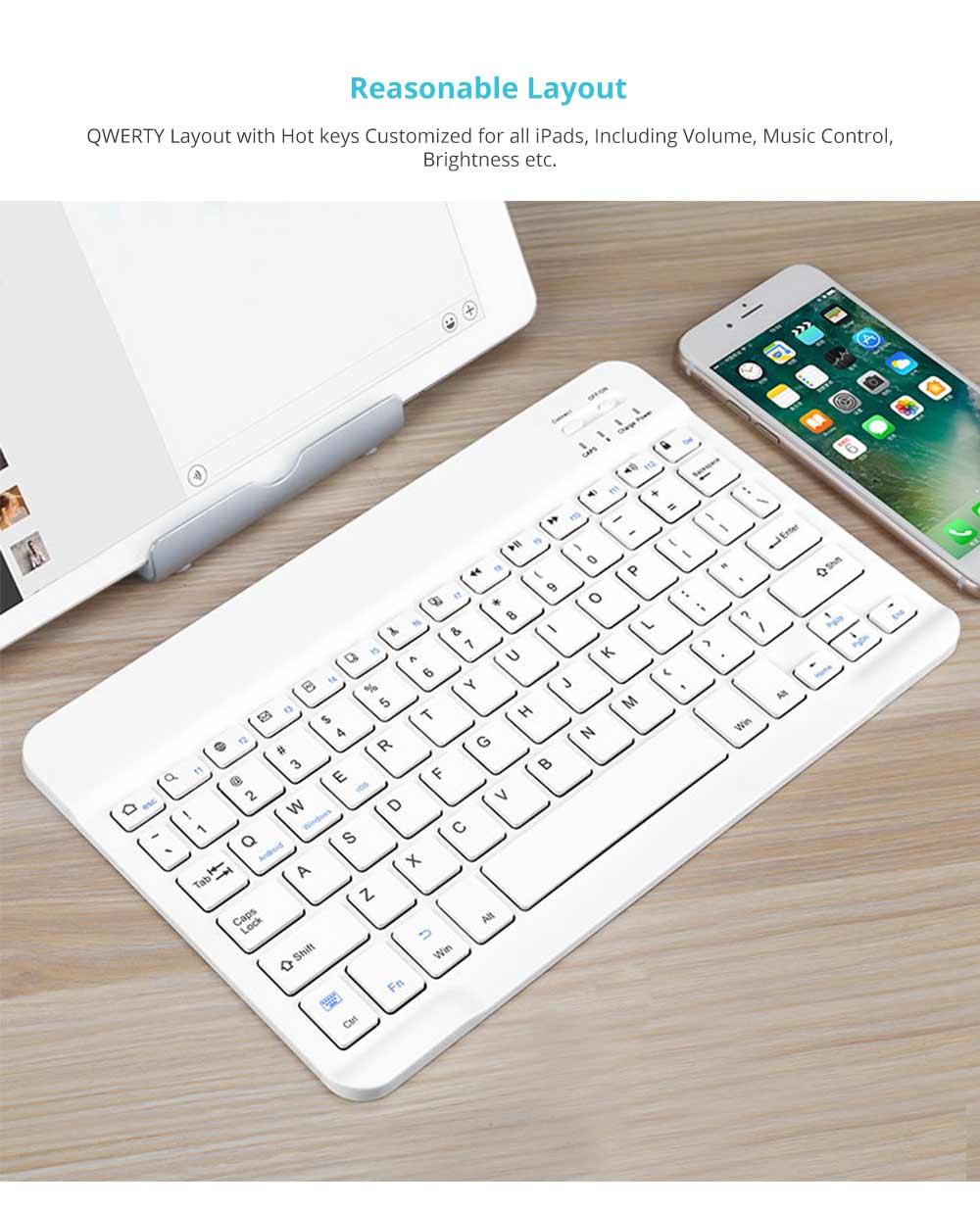 Universal Ultra-thin Bluetooth Keyboard Portable Wireless Bluetooth Keyboard forApple iPad Air 3/2/1, iPad Pro, iPad Mini 4/3/2/1, iPad 4/ 3/ 2, iPhone, Windows and Mac Computers, Android and iOS Tablets and Smartphones Available 9