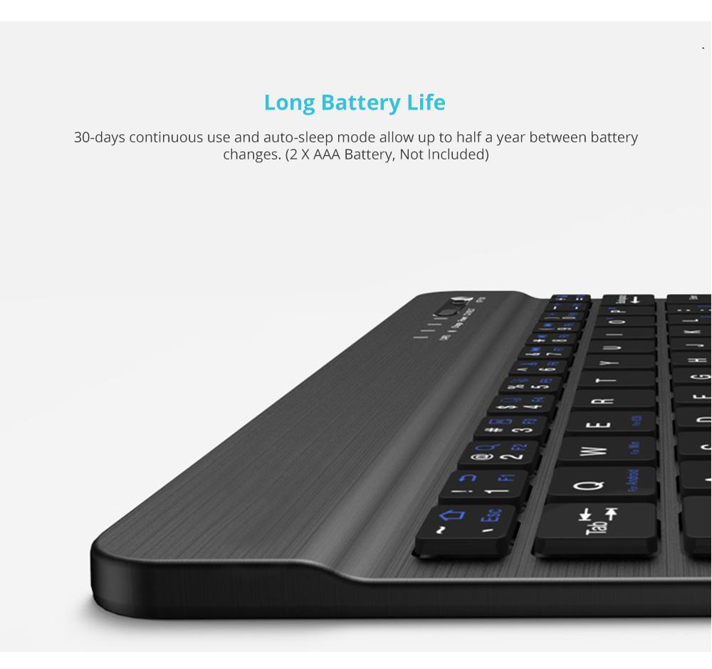 Universal Ultra-thin Bluetooth Keyboard Portable Wireless Bluetooth Keyboard forApple iPad Air 3/2/1, iPad Pro, iPad Mini 4/3/2/1, iPad 4/ 3/ 2, iPhone, Windows and Mac Computers, Android and iOS Tablets and Smartphones Available 10