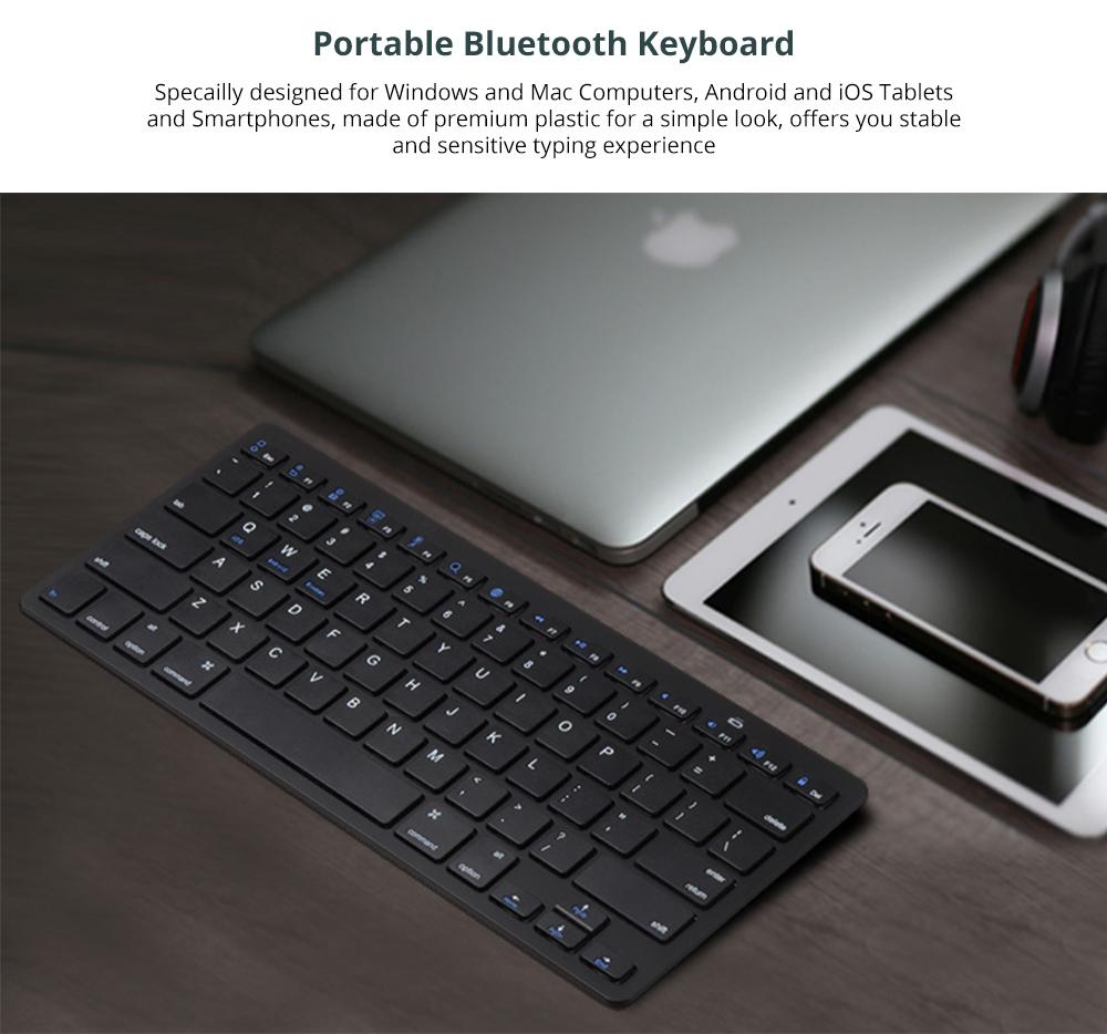 Universal Ultra-slim Bluetooth Keyboard Portable Wireless Bluetooth Keyboard forApple iPad Air 3/2/1, iPad Pro, iPad Mini 4/3/2/1, iPad 4/ 3/ 2, iPhone, Windows and Mac Computers, Android and iOS Tablets and Smartphones Available 5