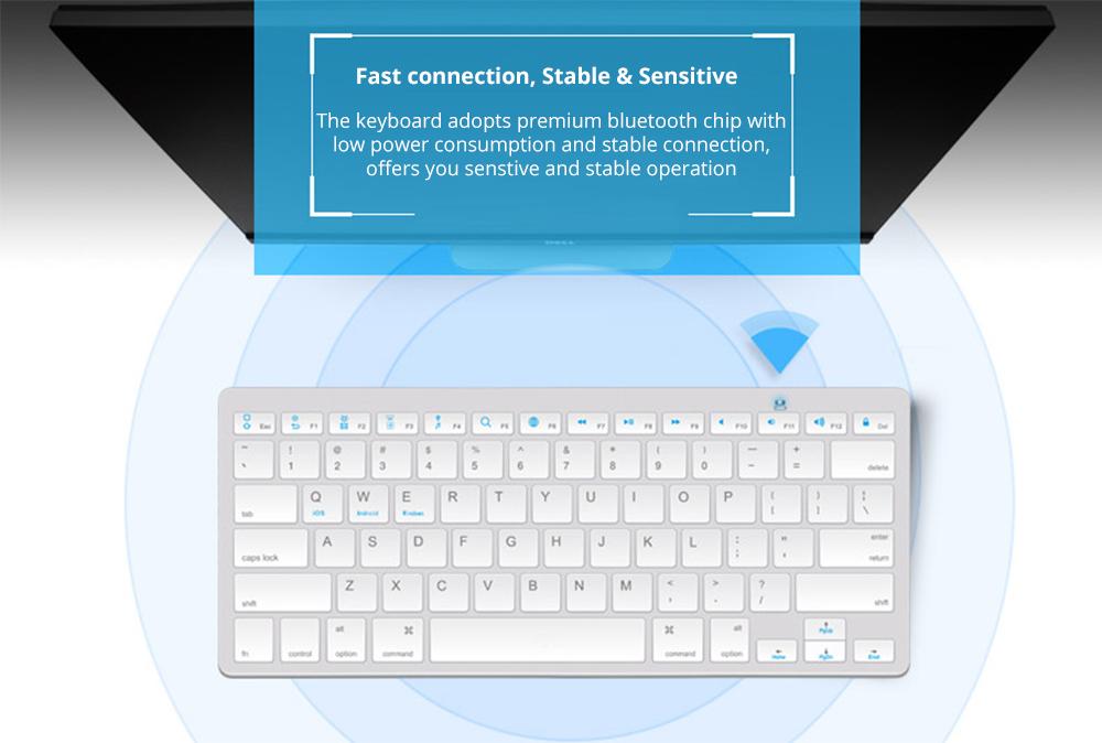 Universal Ultra-slim Bluetooth Keyboard Portable Wireless Bluetooth Keyboard forApple iPad Air 3/2/1, iPad Pro, iPad Mini 4/3/2/1, iPad 4/ 3/ 2, iPhone, Windows and Mac Computers, Android and iOS Tablets and Smartphones Available 10