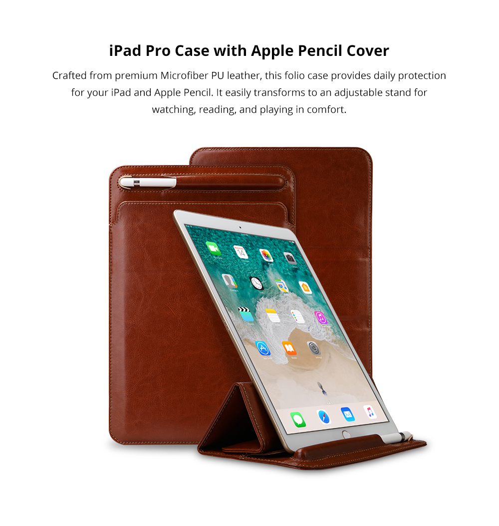 High-end Stand View Case for 9.7 inch iPad Pro, Superior Microfiber PU Leather Folio Sleeve Cover with Apple Pencil Cover 5