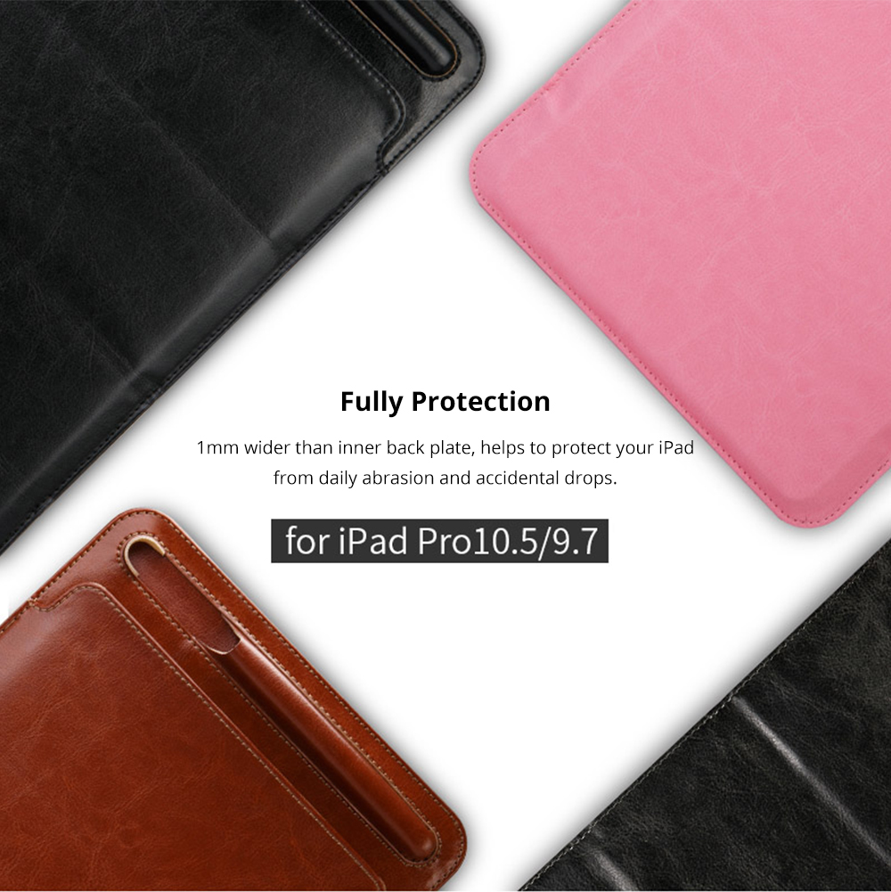 High-end Stand View Case for 9.7 inch iPad Pro, Superior Microfiber PU Leather Folio Sleeve Cover with Apple Pencil Cover 6