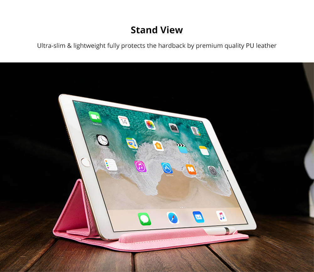 High-end Stand View Case for 9.7 inch iPad Pro, Superior Microfiber PU Leather Folio Sleeve Cover with Apple Pencil Cover 8