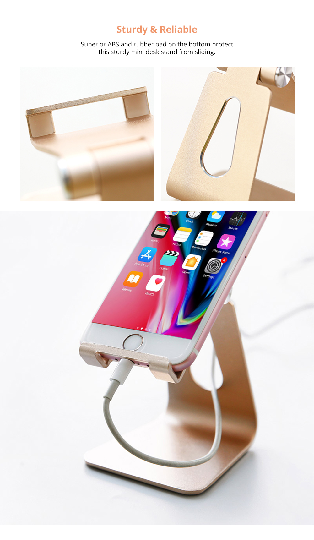 Stylish Adjustable Multi-angle Stand Compatible with iPhone iPad Kindle Android Device 4 inch to 10 inch Universal Hand Free Desktop Stand  9
