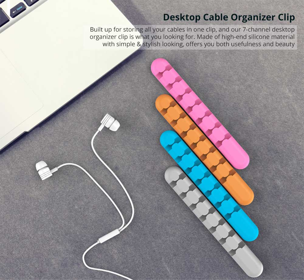 7-Channel Desktop Cable Management Cable Organizer, Silicon Cable Holder Clip for Power Cords and Charging Accessory Cables,Mouse Cable,PC,Office and Home 5