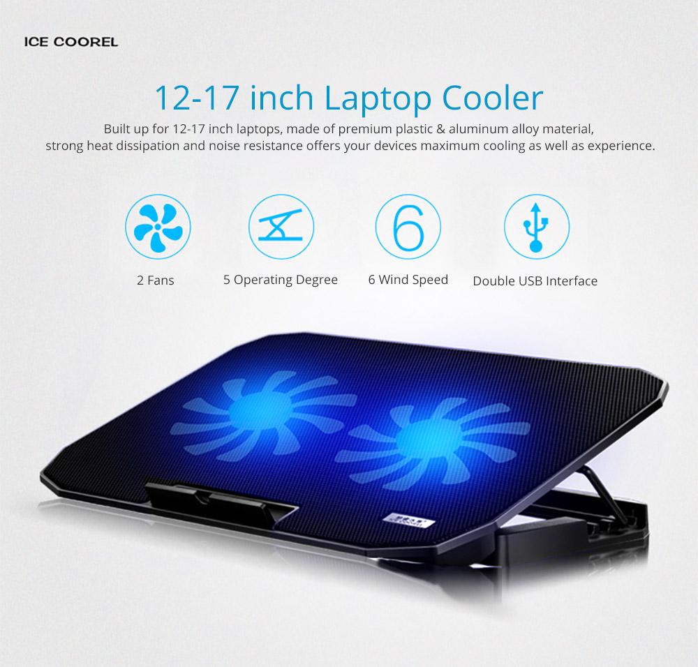 Universal Laptop Quiet LED Fans Cooler Pad, Portable Heat Dissipation Notebook Cooler Temperature Sensor for 12- 17 inch Laptop Accessories 5