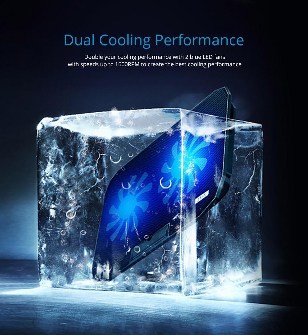 Universal Laptop Quiet LED Fans Cooler Pad, Portable Heat Dissipation Notebook Cooler Temperature Sensor for 12- 17 inch Laptop Accessories 6