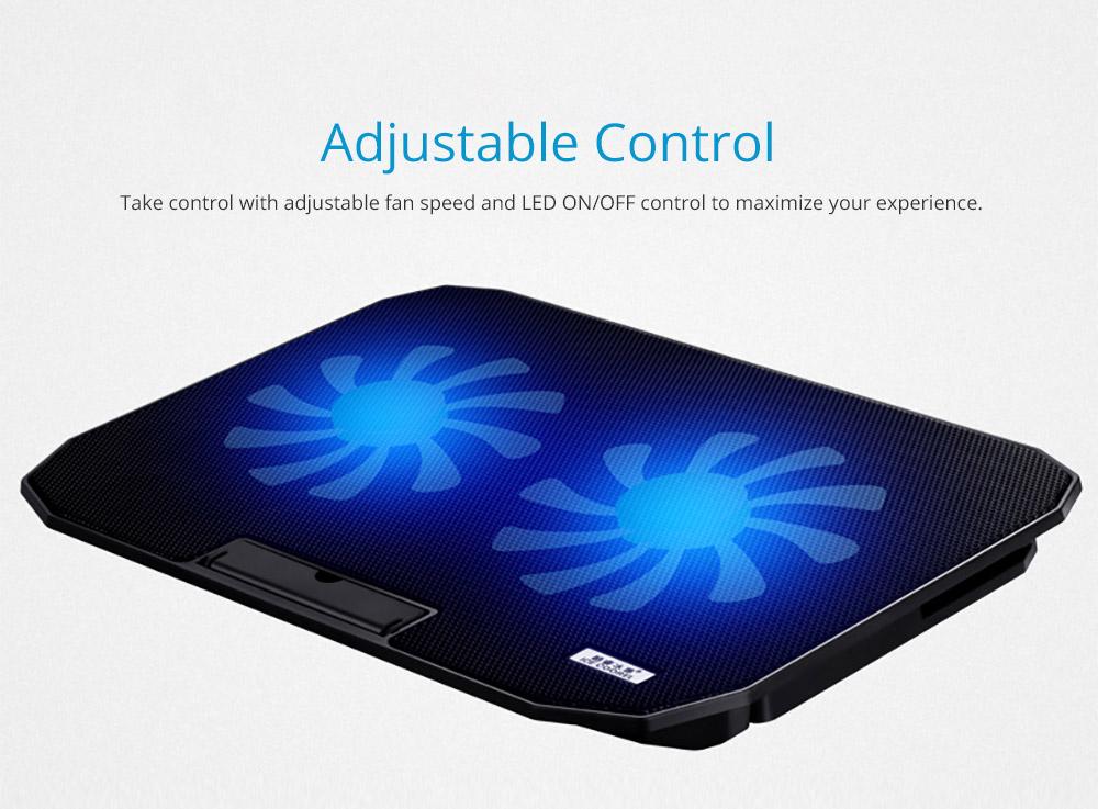 Universal Laptop Quiet LED Fans Cooler Pad, Portable Heat Dissipation Notebook Cooler Temperature Sensor for 12- 17 inch Laptop Accessories 9