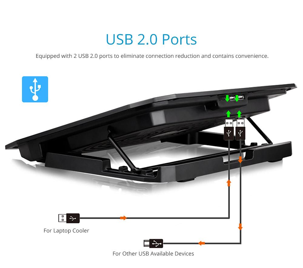 Universal Laptop Quiet LED Fans Cooler Pad, Portable Heat Dissipation Notebook Cooler Temperature Sensor for 12- 17 inch Laptop Accessories 10