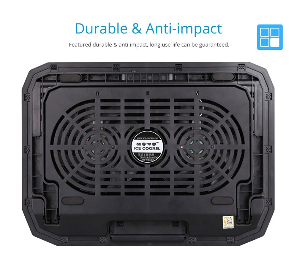 Universal Laptop Quiet LED Fans Cooler Pad, Portable Heat Dissipation Notebook Cooler Temperature Sensor for 12- 17 inch Laptop Accessories 12
