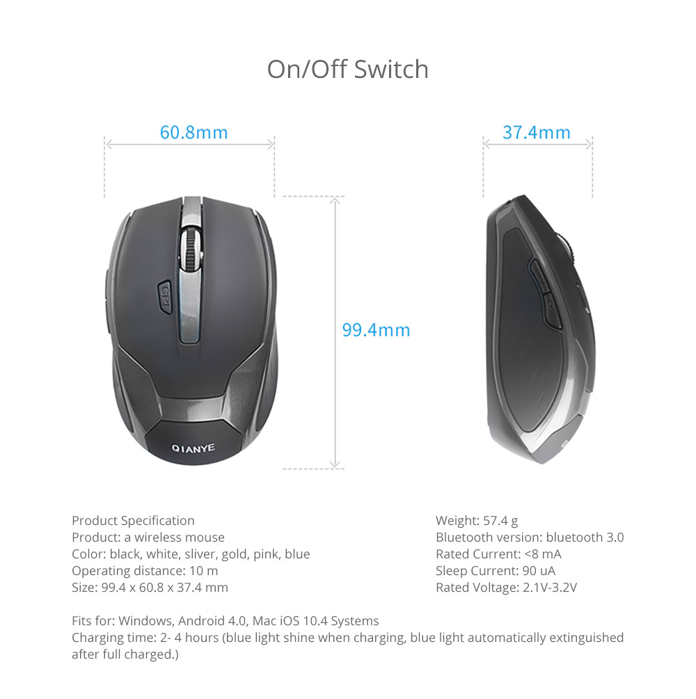 Laptop Accessories Noiseproof Portable Lightweight Wireless Mice, Rechargeable Mobile Optional Bluetooth Mouse for Windows, Android Mac iOS Systems 18