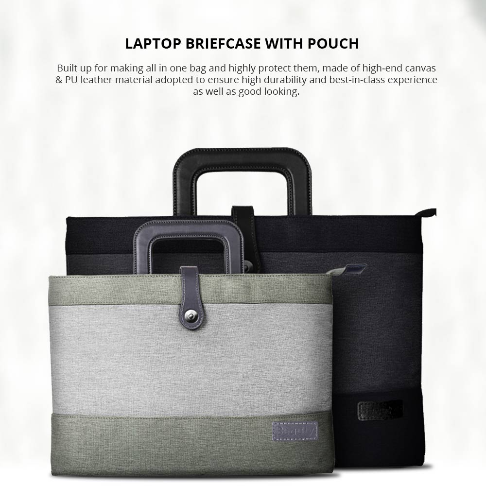 Laptop Accessories Classic 12-15 inch Notebook Handbag with Pouch, Durable Universal Magnetic Snap Briefcase for Macbook Air, Macbook Pro or other Laptops Bag 5