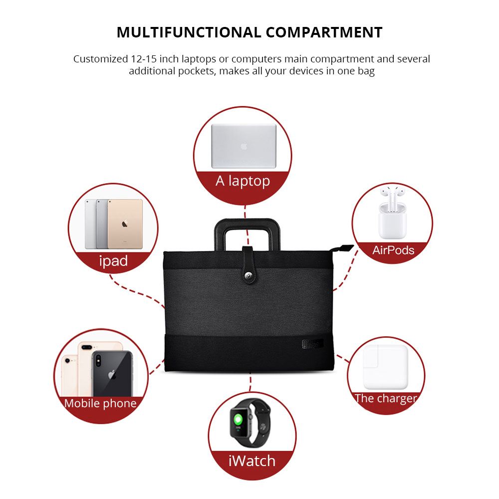 Laptop Accessories Classic 12-15 inch Notebook Handbag with Pouch, Durable Universal Magnetic Snap Briefcase for Macbook Air, Macbook Pro or other Laptops Bag 8