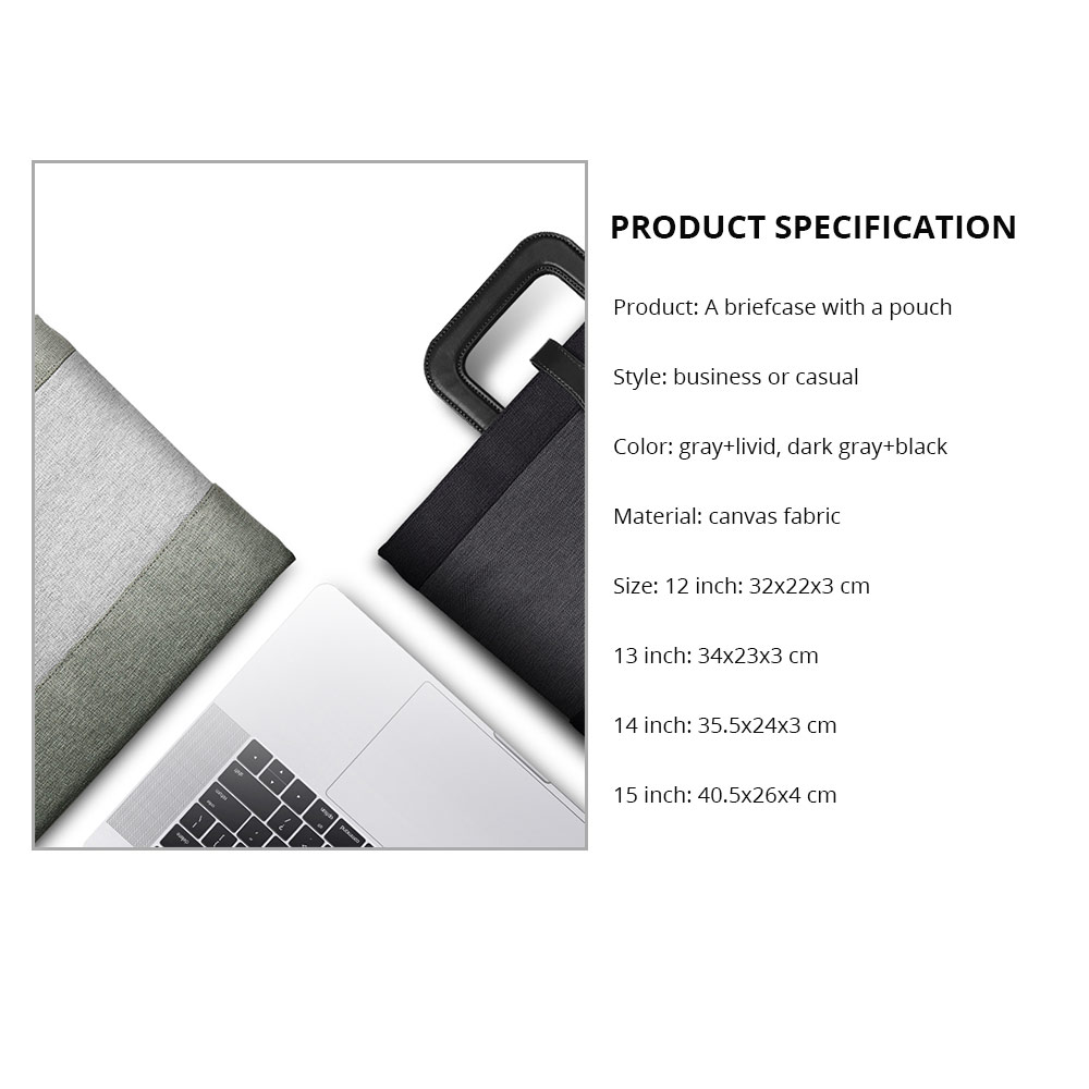 Laptop Accessories Classic 12-15 inch Notebook Handbag with Pouch, Durable Universal Magnetic Snap Briefcase for Macbook Air, Macbook Pro or other Laptops Bag 15