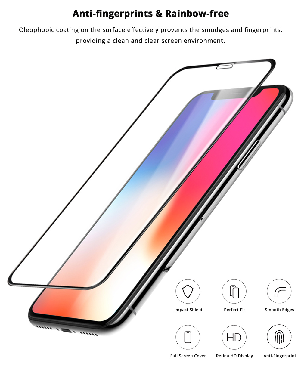Impact Shield Anti-glare Precise-align Perfect Fit Screen Protector for iPhone X, iPhone 8/8 Plus, iPhone 7/7 Plus Protective Screen Skin Protector 6