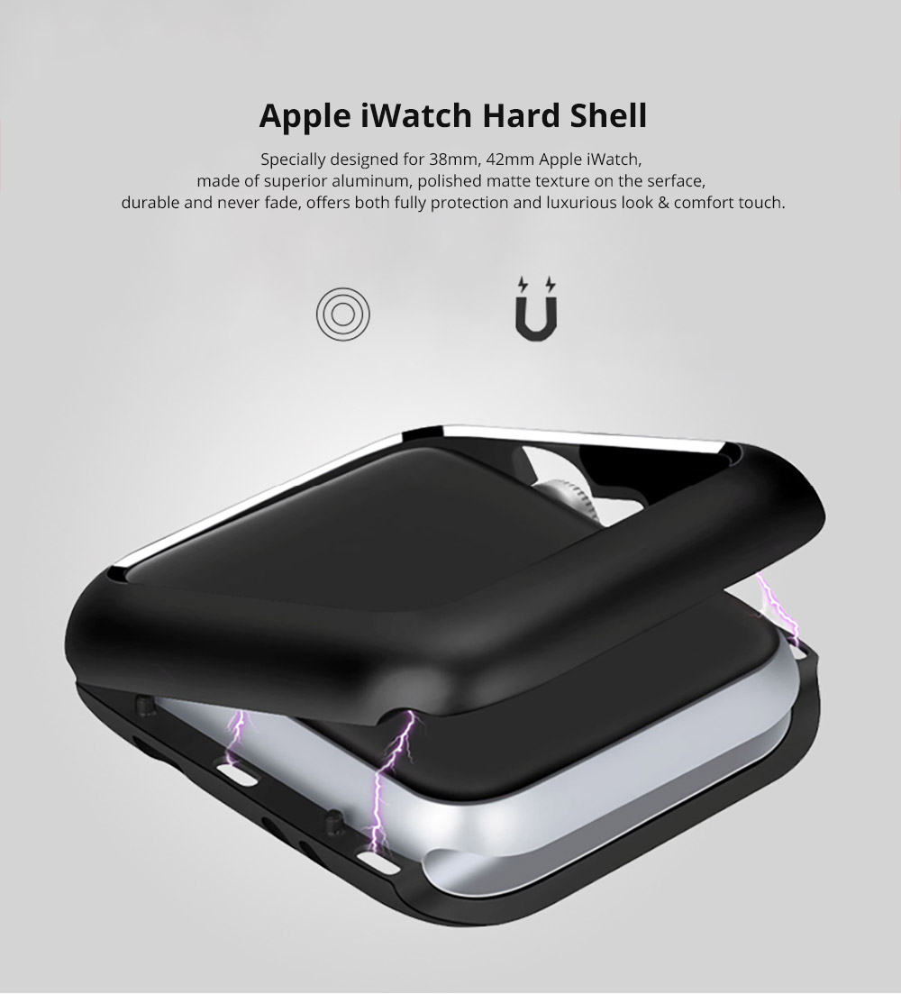Premium Aluminum Protective Case Compatible with Apple iWatch, Hard Shell Anti-impact Anti-Scratch Cover for Apple iWatch 5