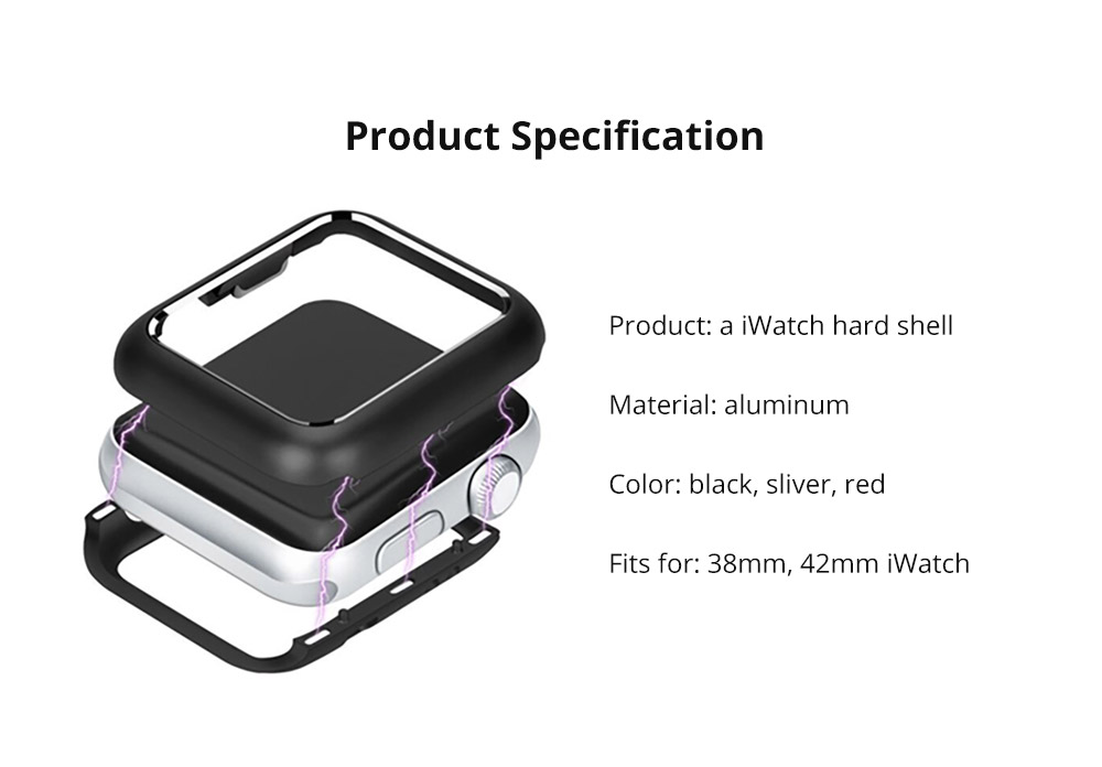 Premium Aluminum Protective Case Compatible with Apple iWatch, Hard Shell Anti-impact Anti-Scratch Cover for Apple iWatch 14