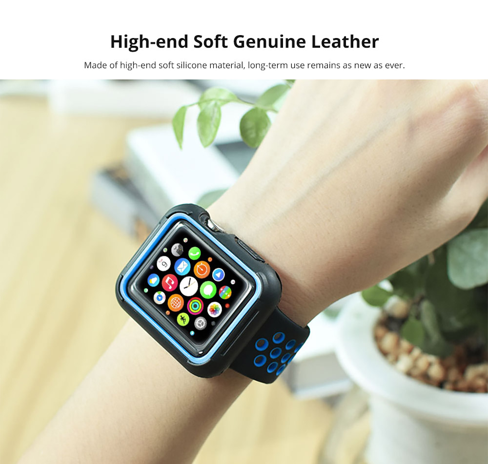 Superior Silicone Watch Band with Protective Screen Case for Apple iWatch Breathable Replacement Strap with Screen Protector 38mm 42mm  8