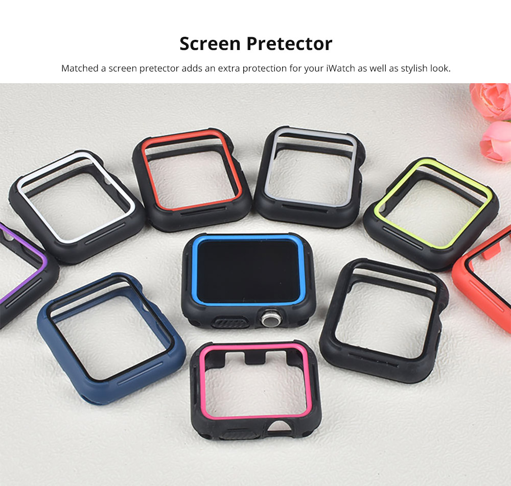 Superior Silicone Watch Band with Protective Screen Case for Apple iWatch Breathable Replacement Strap with Screen Protector 38mm 42mm  10