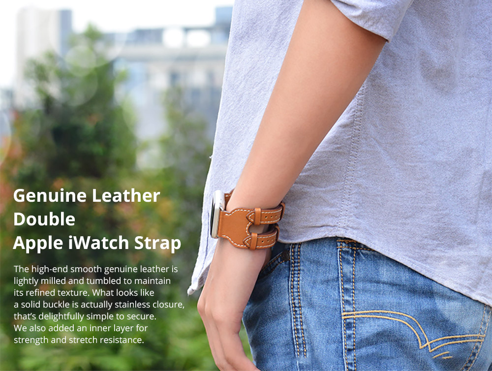 Retro Genuine Leather Double Watch Band with Double Stainless Metal Buckle, Compatible with Apple iWatch 38mm 42mm 6