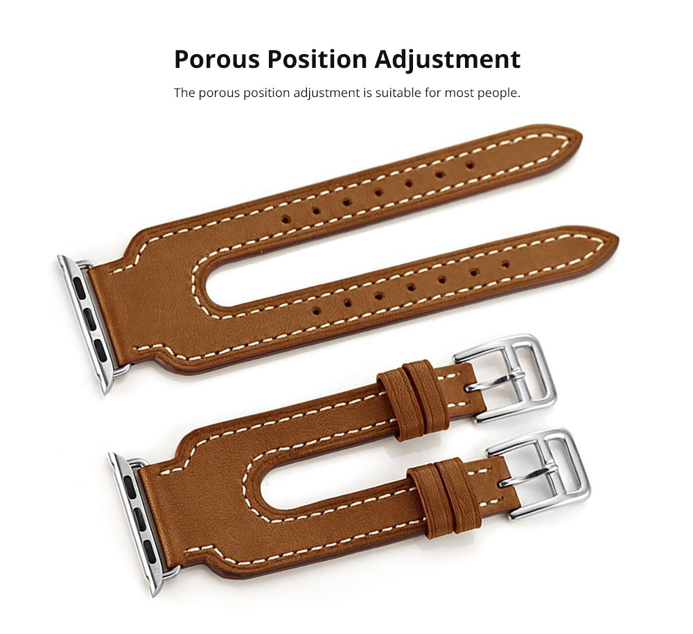 Retro Genuine Leather Double Watch Band with Double Stainless Metal Buckle, Compatible with Apple iWatch 38mm 42mm 8