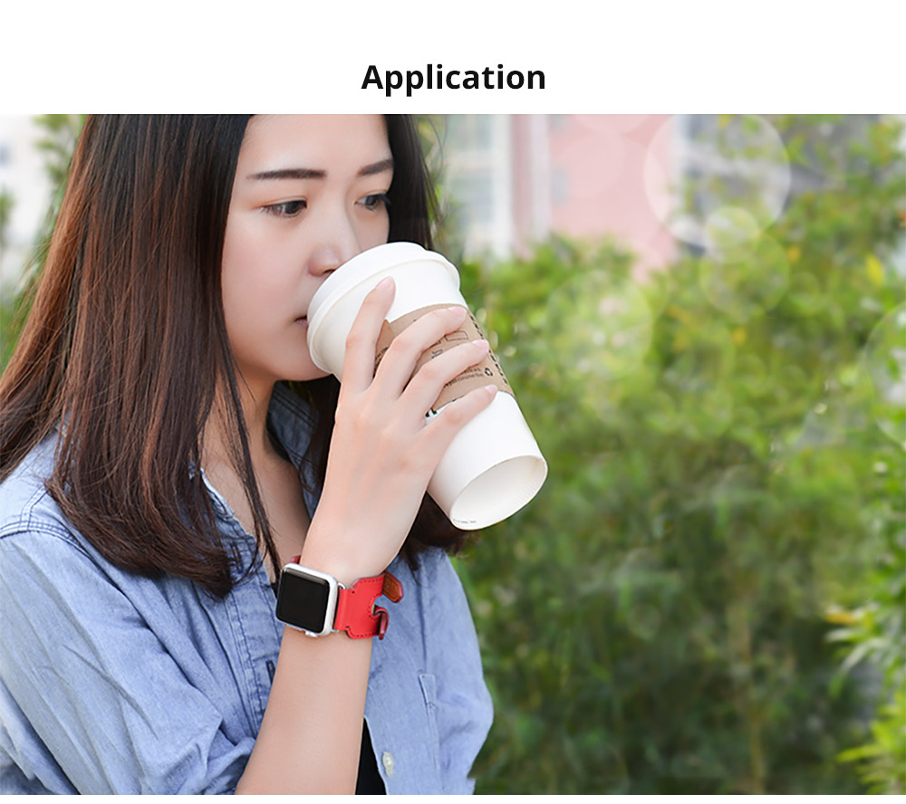 Retro Genuine Leather Double Watch Band with Double Stainless Metal Buckle, Compatible with Apple iWatch 38mm 42mm 12