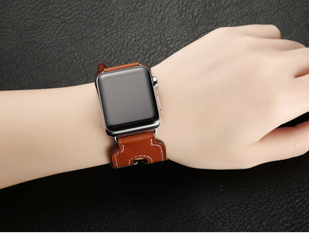 Retro Genuine Leather Double Watch Band with Double Stainless Metal Buckle, Compatible with Apple iWatch 38mm 42mm 14