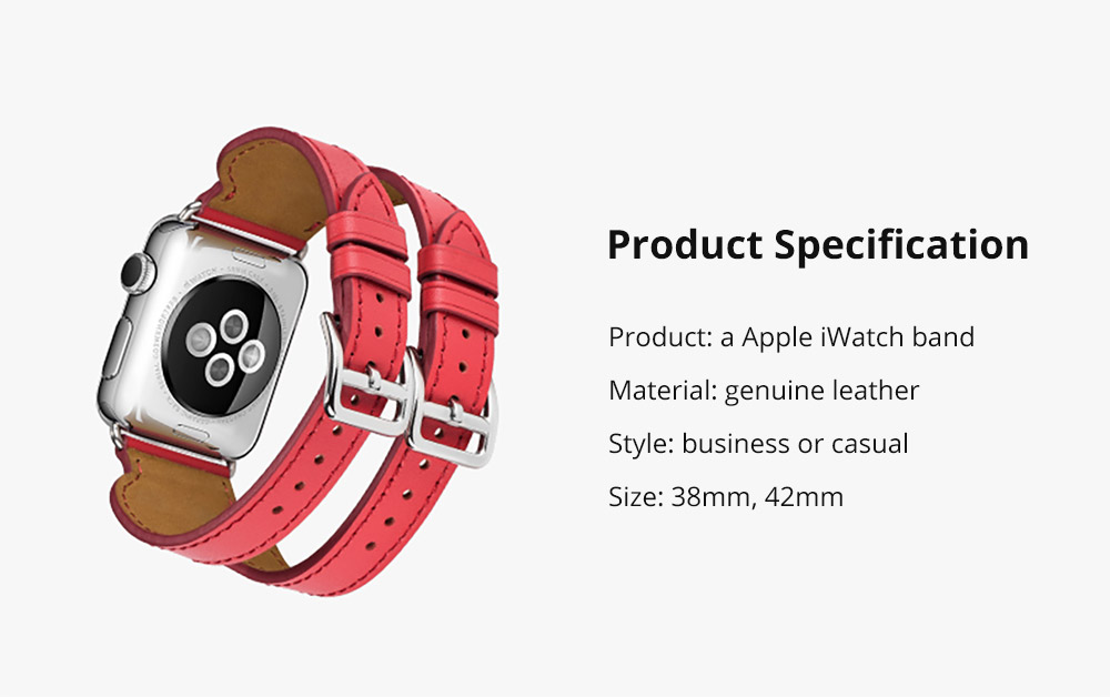 Retro Genuine Leather Double Watch Band with Double Stainless Metal Buckle, Compatible with Apple iWatch 38mm 42mm 16